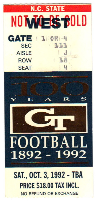 1992-10-03 - Georgia Tech vs. North Carolina State