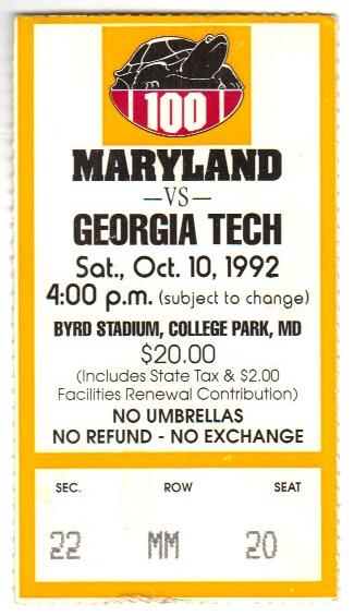 1992-10-10 - Georgia Tech at Maryland