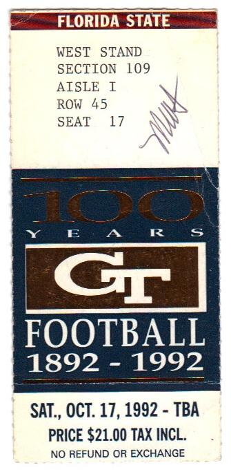 1992-10-17 - Georgia Tech vs. Florida State