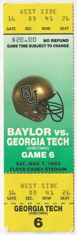 1992-11-07 - Georgia Tech at Baylor