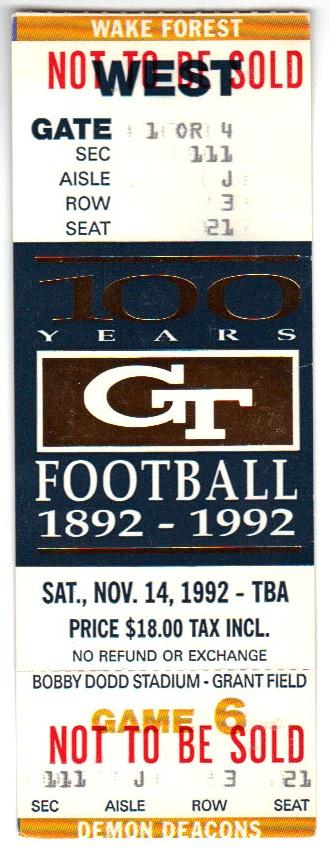 1992-11-14 - Georgia Tech vs. Wake Forest