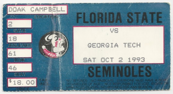 1993-10-02 - Georgia Tech at Florida State