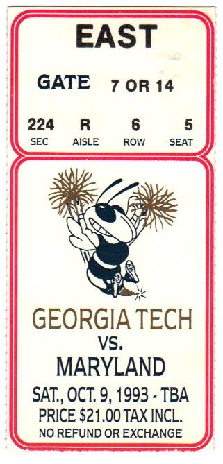 1993-10-09 - Georgia Tech vs. Maryland