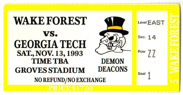 1993-11-13 - Georgia Tech at Wake Forest