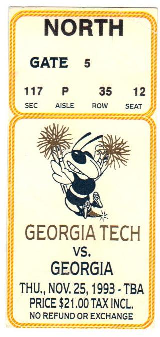 1993-11-25 - Georgia Tech vs. Georgia