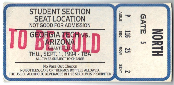 1994-09-01 - Georgia Tech vs. Arizona - Student