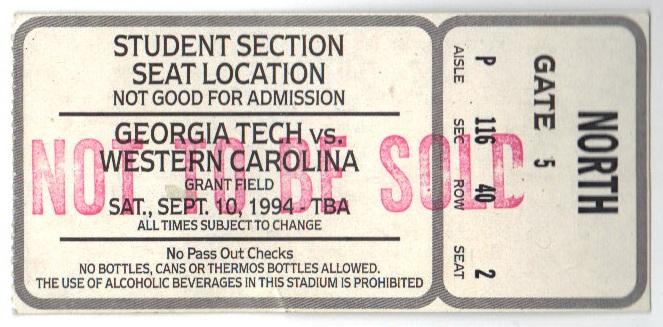 1994-09-10 - Georgia Tech vs. Western Carolina