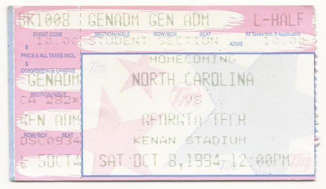 1994-10-08 - Georgia Tech at North Carolina - General Admission