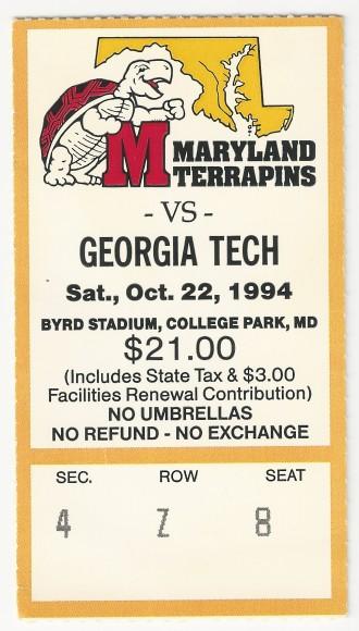 1994-10-22 - Georgia Tech at Maryland