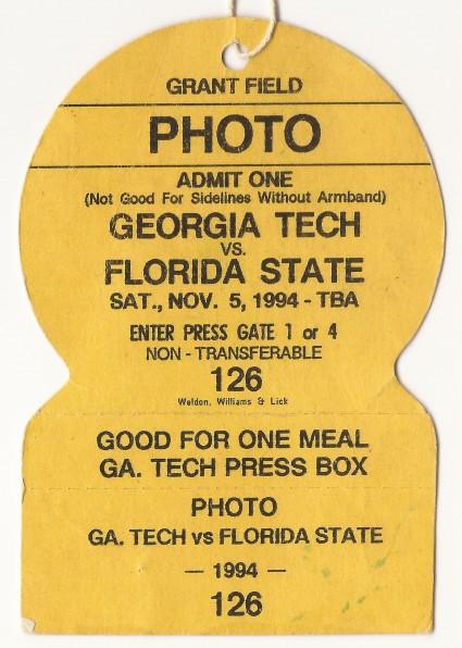 1994-11-05 - Georgia Tech vs. Florida State - Photo