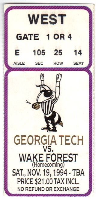 1994-11-19 - Georgia Tech vs. Wake Forest