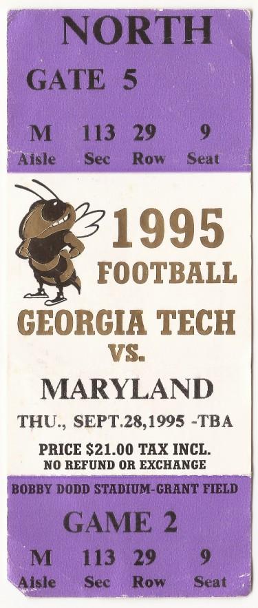 1995-09-28 - Georgia Tech vs. Maryland