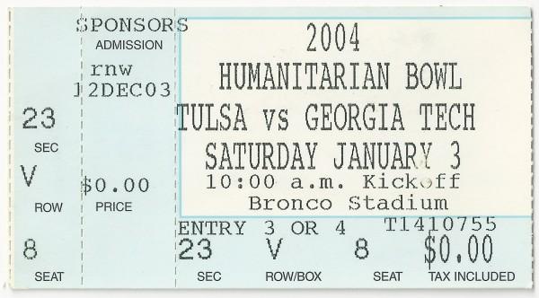 2004-01-03 - Georgia Tech vs. Tulsa - Humanitarian Bowl