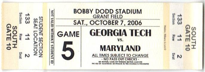 2006-10-07 - Georgia Tech vs. Maryland - Student