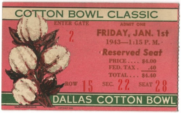 Georgia Tech vs. Texas - Cotton Bowl - 1943 - Pink