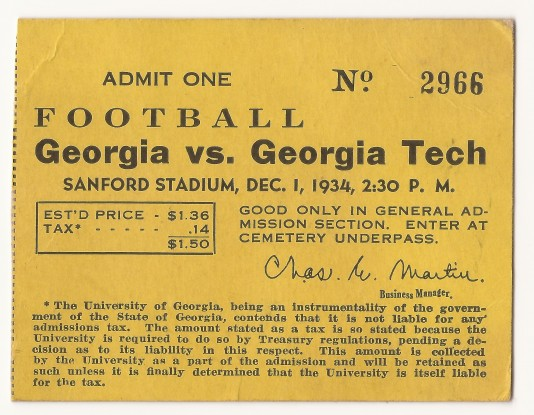 1934-12-01 - Georgia Tech at Georgia - General Admission