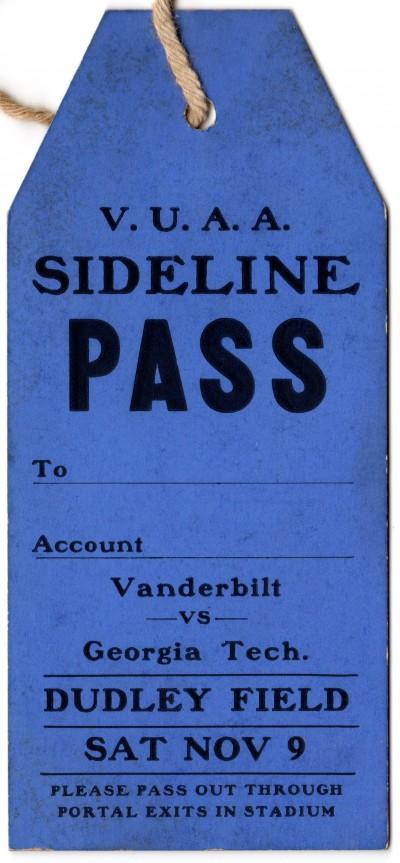 1929-11-09 - Georgia Tech at Vanderbilt - Sideline Pass
