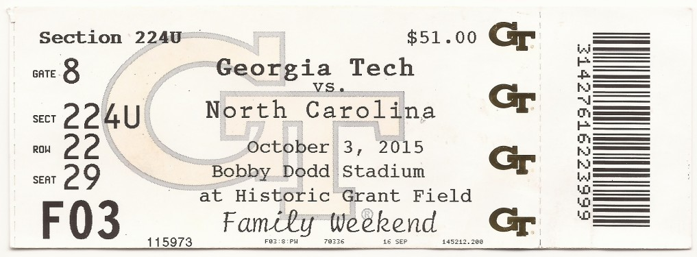 2015-10-03 - Georgia Tech vs. North Carolina - Box Office