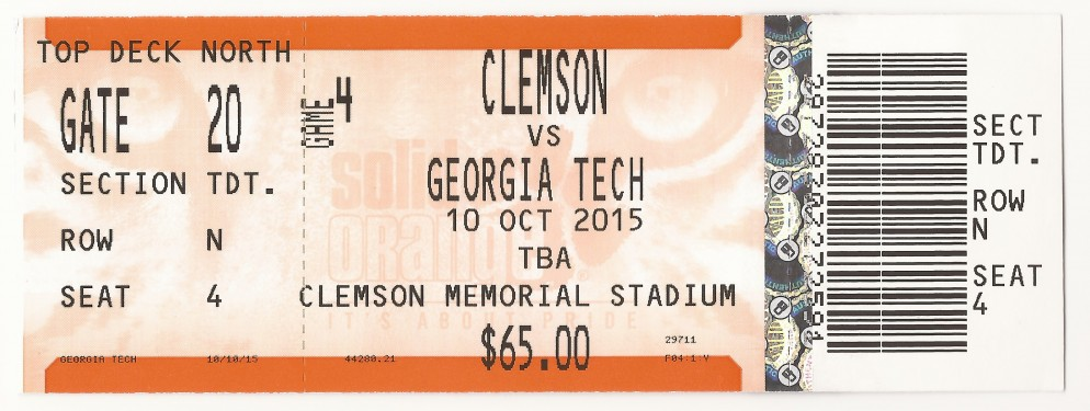 2015-10-10 - Georgia Tech at Clemson - Box Office