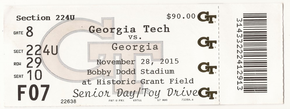 2015-11-28 - Georgia Tech vs. Georgia - Box Office