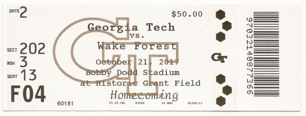 2017-10-21 - Georgia Tech vs. Wake Forest - Box Office