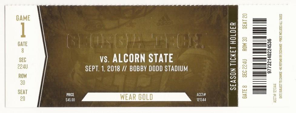 Georgia Tech vs. Alcorn State - 2018