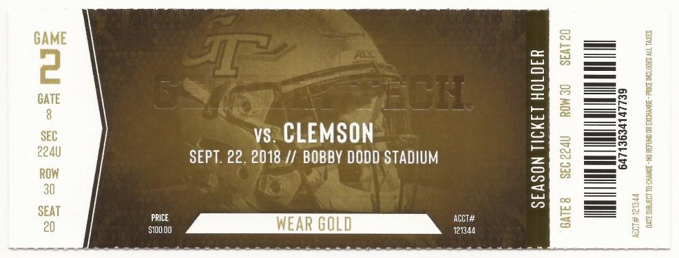 Georgia Tech vs. Clemson - 2018