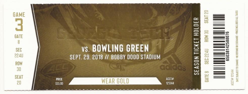 Georgia Tech vs. Bowling Green - 2018