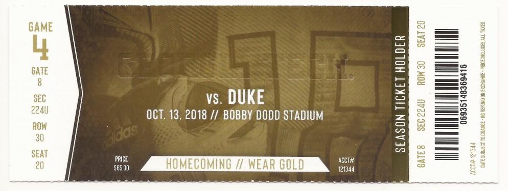 Georgia Tech vs. Duke - 2018