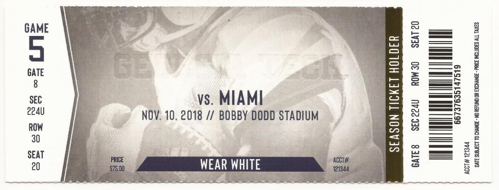 Georgia Tech vs. Miami - 2018