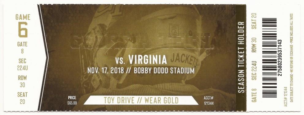 Georgia Tech vs. Virginia - 2018