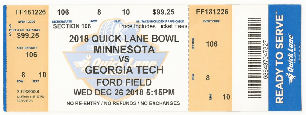Georgia Tech vs. Minnesota - Quick Lane Bowl - 2018
